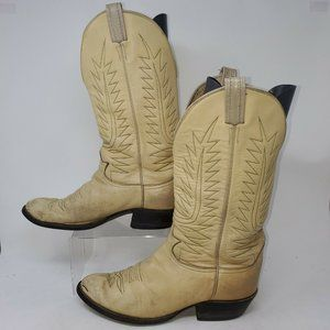 Western Cowboy Boots Pull On Mid Calf Round Toe Le